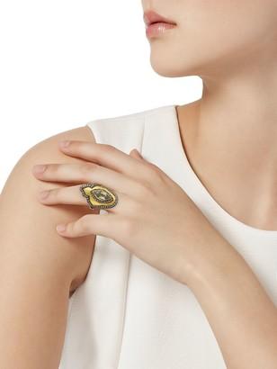 Artisan 18K Yellow Gold, 925 Sterling Silver, Diamond & Quartz Ring