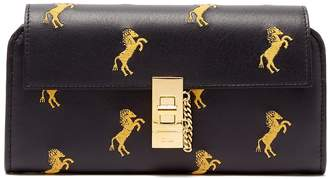 Chloé Drew horse-embroidered leather wallet