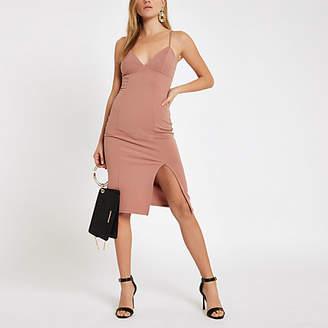 River Island Light pink ribbed trim bodycon midi dress