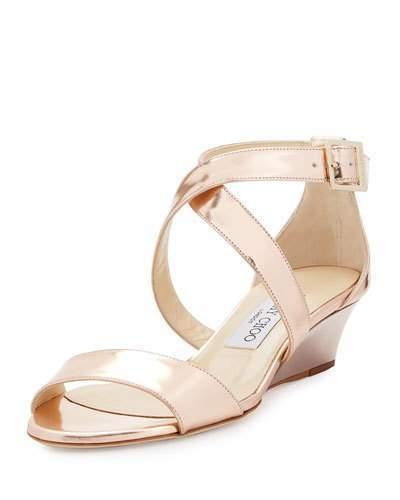 Jimmy ChooJimmy Choo Chiara Mirrored Crisscross Wedge Sandal, Rose Gold