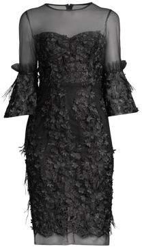 Milly Illusion Floral Appliqué Dress