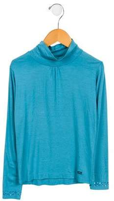 Lili Gaufrette Girls' Embellished Mock Neck Top w/ Tags
