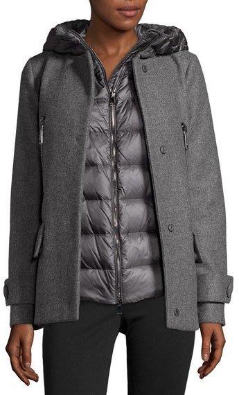 MonclerMoncler Euphemia Woolen Coat w/Puffer Vest, Gray
