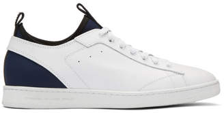 Diesel Black Gold White Leather and Neoprene Sneakers
