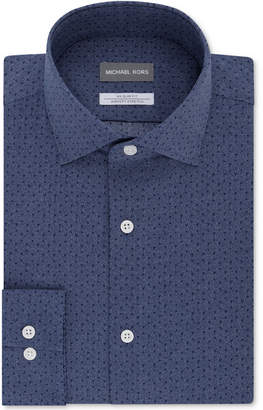 Michael Kors Men's Slim-Fit Non-Iron Airsoft Stretch Performance Pattern Dress Shirt