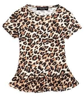 Generation Love Girls' Leopard-Print Ruffled Linen Tee - Little Kid, Big Kid