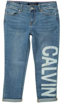 Calvin Klein Logo Boyfriend Jeans (Big Girls)