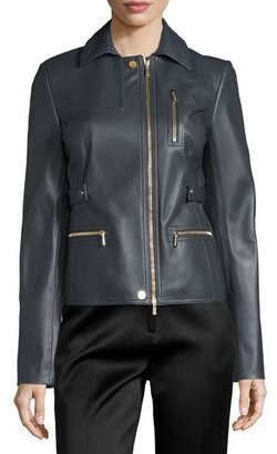 Jason Wu Zip-Pocket Lamb Leather Field Jacket, Charcoal $3,670 thestylecure.com