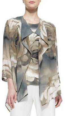 Caroline Rose Draped Watercolor Rose-Print Jacket $265 thestylecure.com