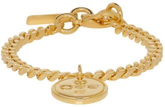 Off-White Off White SSENSE Exclusive Gold Logo Cross Bracelet