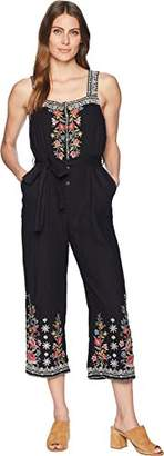 Johnny Was JWLA By Women's Embroidered Linen Cropped Jumpsuit with Tie