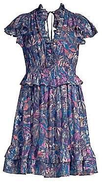 Rebecca Taylor Women's Flutter Sleeve Leaf Print Mini Dress