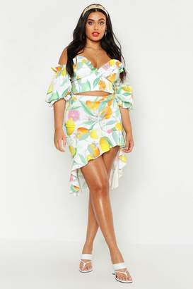 boohoo Plus Fruit Print Ruffle Detail Midi Skirt