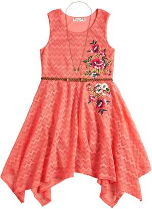 Knitworks Girls 7-16 Lace Sharkbite Belted Dress & Necklace Set