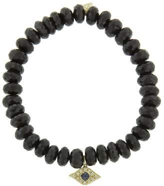 Sydney Evan Evil Eye Charm On Black Spinel Beaded Bracelet