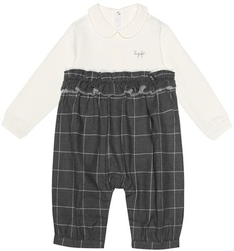 Il Gufo Baby checked cotton playsuit
