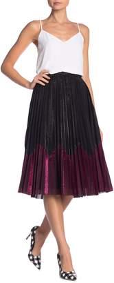 Why Dress Metallic Pleated Midi Skirt