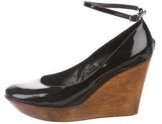 Chloé Patent Leather Ankle-Strap Wedges