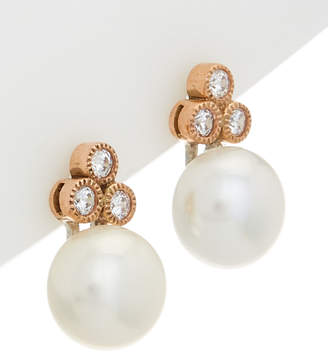 Honora 14K Rose Gold Over Silver 8-8.5Mm Pearl & Cz Earrings