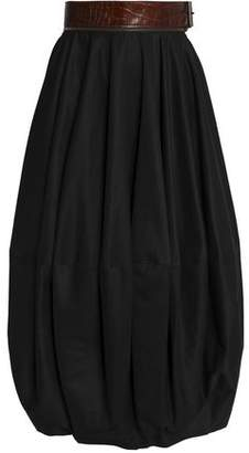 J.W.Anderson Belted Leather-Trimmed Twill Midi Skirt