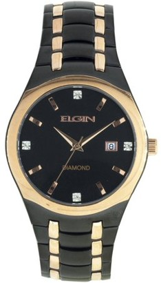 Elgin Men's Black Round Dial and Date Window Analog Watch, Black and Rose Gold Bracelet