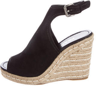 pradaPrada Suede Wedge Sandals w/ Tags