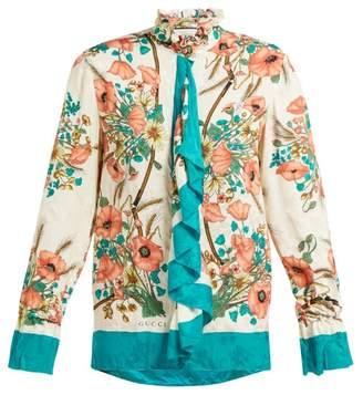 Gucci Poppy Print Silk Jacquard Blouse - Womens - Pink Multi