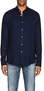 John Varvatos Men's Banded-Collar Button-Front Shirt - Md. Blue
