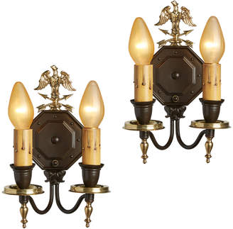 Rejuvenation Pair of Federalist Eagle Sconces in Brass and Steel