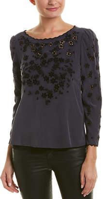 Rebecca Taylor Miranda Embroidered Silk Top