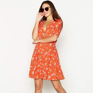 Red Herring Red Floral Print V-Neck Short Sleeve Mini Tea Dress