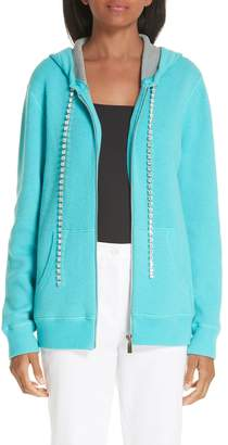 Michael Kors Crystal Drawstring Cashmere Blend Hoodie
