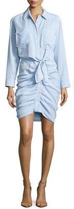 Veronica Beard Sierra Ruched Chambray Mini Dress, Light Blue $495 thestylecure.com
