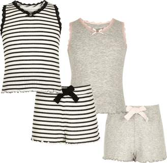 River Island Girls grey and stripe pointelle pyjama set