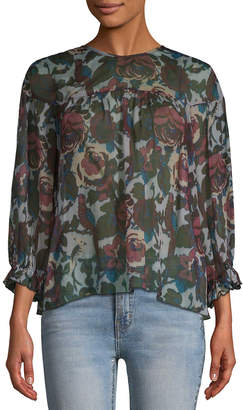 Anna Sui Floral Cut-Out Blouse