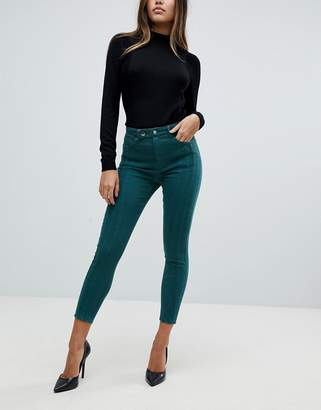 Asos Ridley High Waist Skinny Jeans With Front Seam Detail And Extended Button Tab In Dark Forest Green