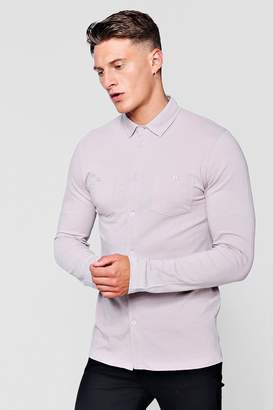 boohoo Muscle Fit Long Sleeve Jersey Shirt With Double Pockets