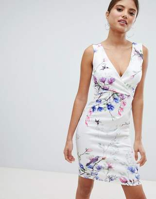 Jessica Wright Printed Pencil Dress With Side Ruched Detail