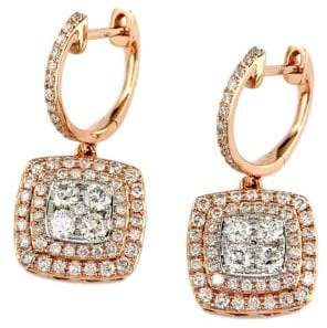 Effy Diamond & 14K Rose & White Gold Drop Earrings