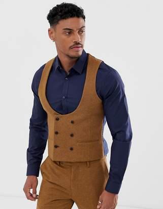 Harry Brown slim fit 50% wool tweed suit vest