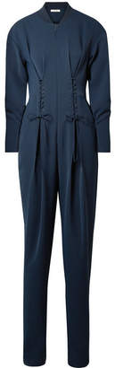 Tibi Lace-up Crepe Jumpsuit - Navy