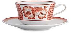 Oscar de la Renta by Vista Alegre by Vista Alegre Coralina Porcelain Tea Cup & Saucer/Set of 4
