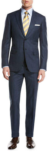 BrioniBrioni Plaid Wool-Silk Two-Piece Suit, Medium Blue