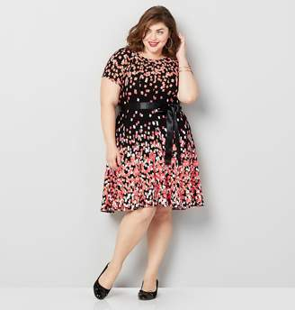 Avenue Coral Geo Print Fit and Flare Dress