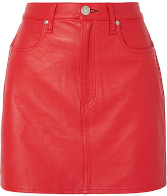 Rag & Bone Moss Leather Mini Skirt - Red