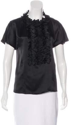Chanel Silk Camellia Appliqué Top