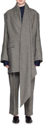 The Row Mewey Mini-Houndstooth Superfine Camel Hair Coat w/ Scarf