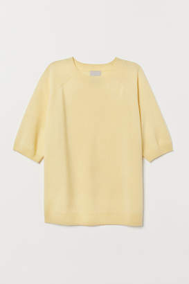 H&M Short-sleeved Cashmere Sweater - Yellow