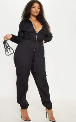 ecece87dfe3 PrettyLittleThing Plus Black Cargo Belted Utility Jumpsuit
