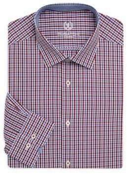 Bugatchi Shaped-Fit Checkered Cotton Dress Shirt